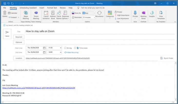 Zoom meeting invite example