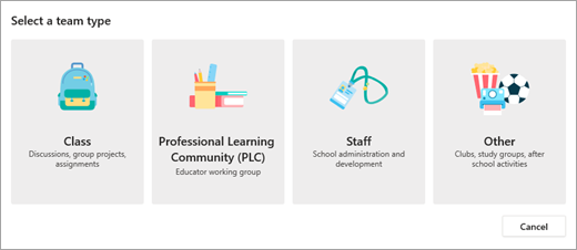 """picture showing the options you will see when you select """"create new team"""". You will have the options of """"Class"""" """"Professional Learning Community"""" """"Staff"""" or """"Other"""""""