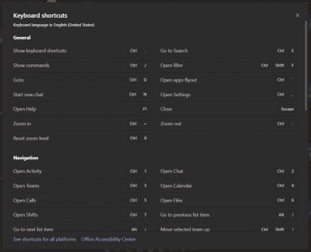Microsoft Teams list of shortcuts