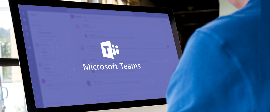 Person using their computer to access Microsoft Teams