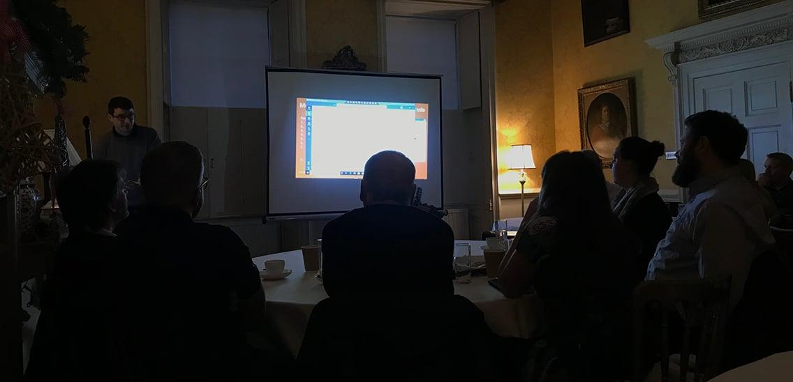 business presentation in a darkened room
