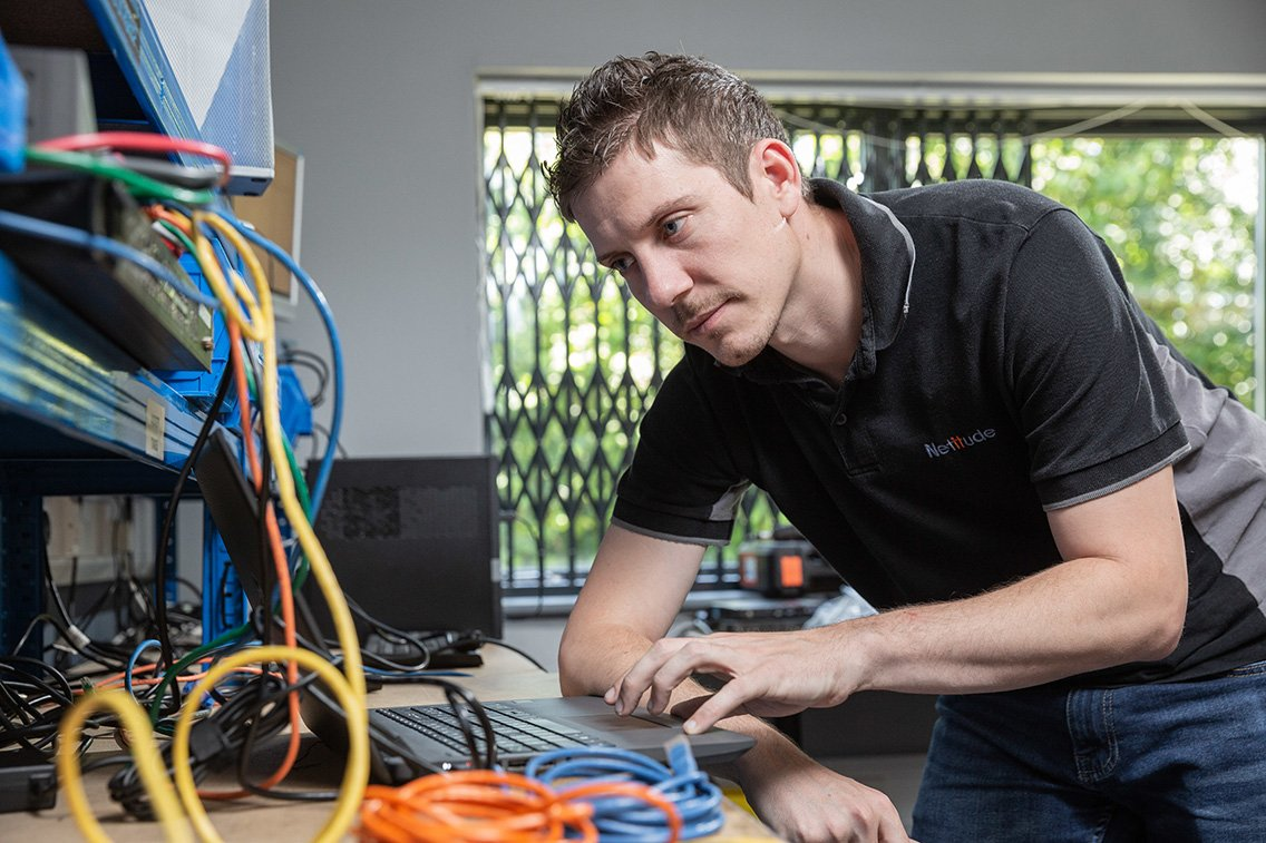 Engineer working at a laptop